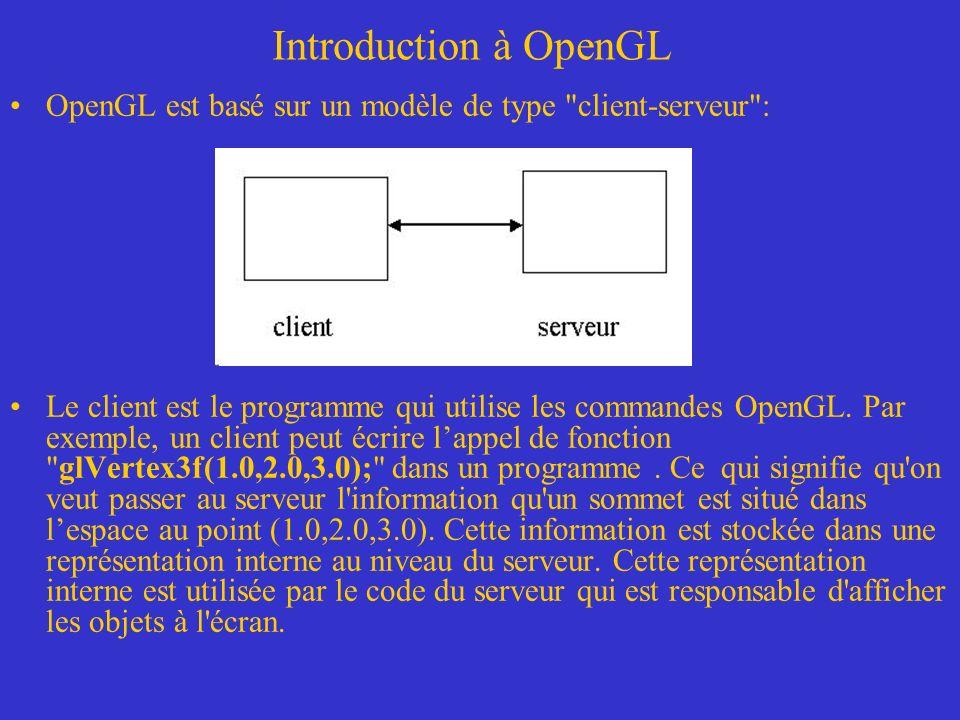 Introduction à OpenGL Librairies *.lib, DLLs et fichiers *.h –La librairie GLUT n est pas supportée par Microsoft.