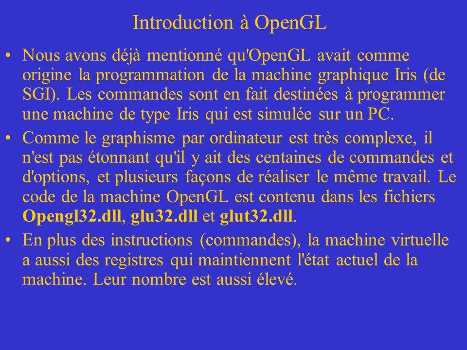 Introduction à OpenGL Pour utiliser les exemples de programmes il faut au préalable organiser lenvironnement de travail Microsoft Visual C++.NET: –Inclure le fichier header glut.h comme suit: