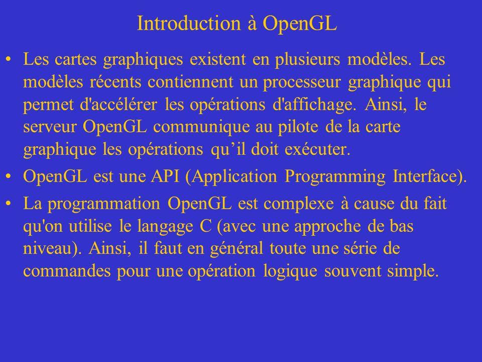 Introduction à OpenGL Les types d OpenGL –À la page 41 de la Super Bible, on retrouve un tableau qui montre tous les types supportés par OpenGL.