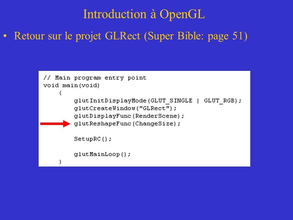 Autres outils de dessins Fenêtre du monde VS viewport –Exemple de traçage d une fonction sinc glOrtho2D(-5.0,5.0,-0.3,1.0) // permet de définir les bornes de la fenêtre du monde glOrtho2D(left, right, buttom, up); glViewport(0.0,0.0,640.0,480.0); //permet de définir la dimension du viewport glViewport(xcorner,ycorner,width,height);