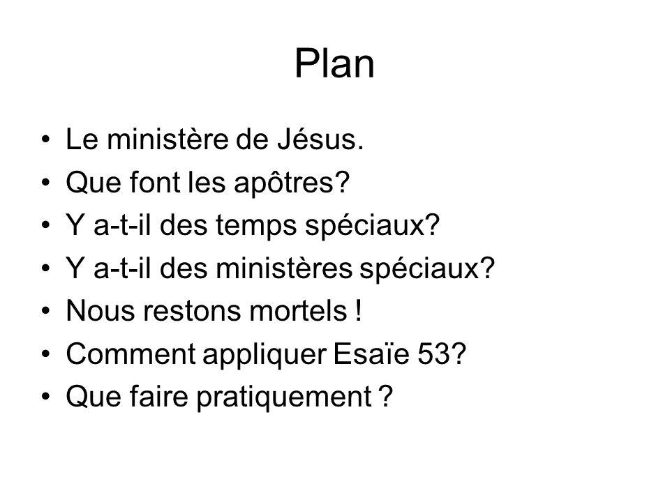 Plan Le ministère de Jésus. Que font les apôtres? Y a-t-il des temps spéciaux? Y a-t-il des ministères spéciaux? Nous restons mortels ! Comment appliq