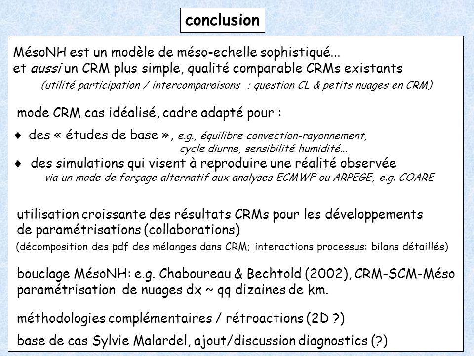 conclusion MésoNH est un modèle de méso-echelle sophistiqué... et aussi un CRM plus simple, qualité comparable CRMs existants (utilité participation /