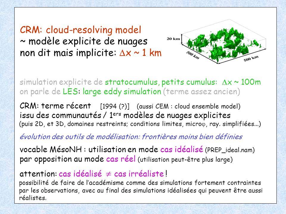 CRM: cloud-resolving model ~ modèle explicite de nuages non dit mais implicite: x ~ 1 km simulation explicite de stratocumulus, petits cumulus: x ~ 10