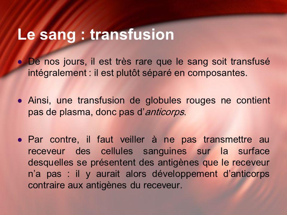 Le sang : transfusion De nos jours, il est très rare que le sang soit transfusé intégralement : il est plutôt séparé en composantes. Ainsi, une transf