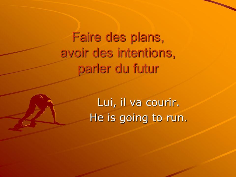 Faire des plans, avoir des intentions, parler du futur Lui, il va courir. He is going to run.