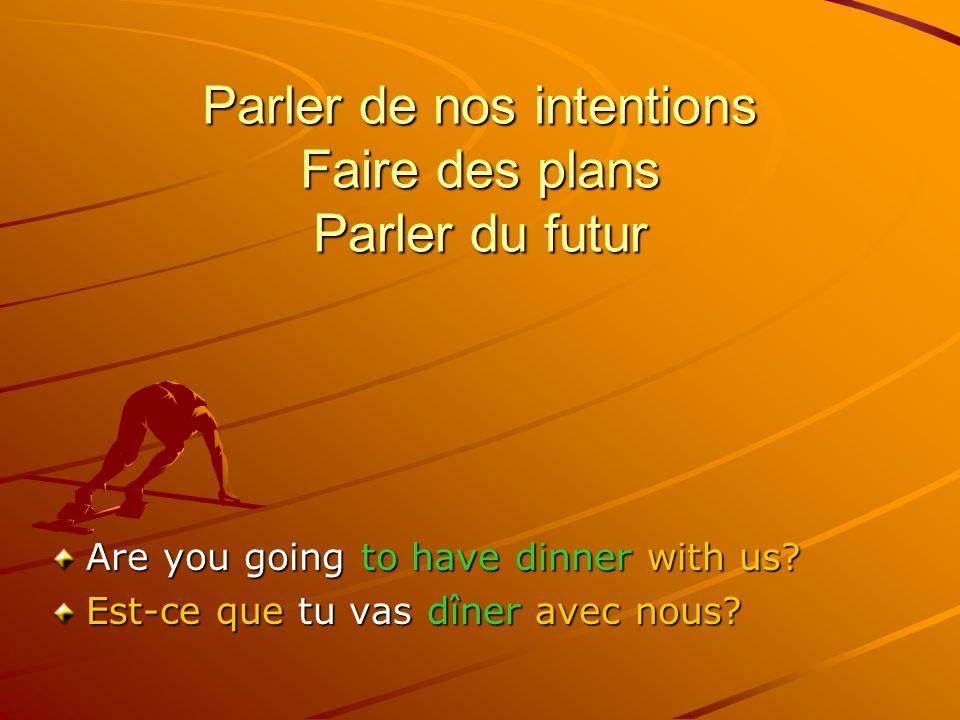 Parler de nos intentions Faire des plans Parler du futur I am going to accept your kind invitation.