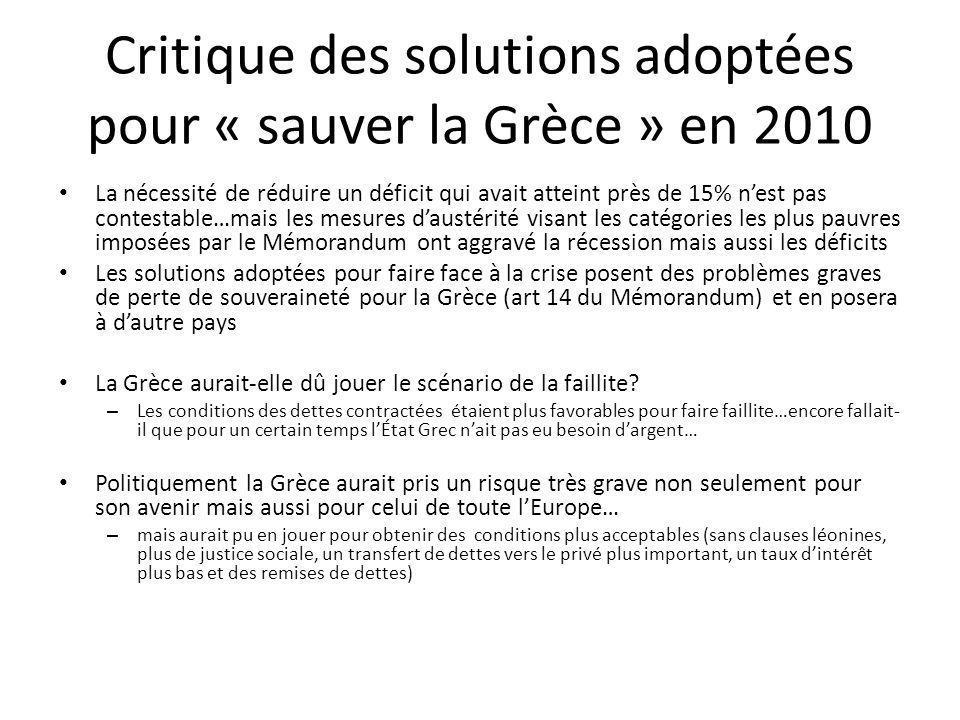 Critique des solutions adoptées pour « sauver la Grèce » en 2010 La nécessité de réduire un déficit qui avait atteint près de 15% nest pas contestable…mais les mesures daustérité visant les catégories les plus pauvres imposées par le Mémorandum ont aggravé la récession mais aussi les déficits Les solutions adoptées pour faire face à la crise posent des problèmes graves de perte de souveraineté pour la Grèce (art 14 du Mémorandum) et en posera à dautre pays La Grèce aurait-elle dû jouer le scénario de la faillite.
