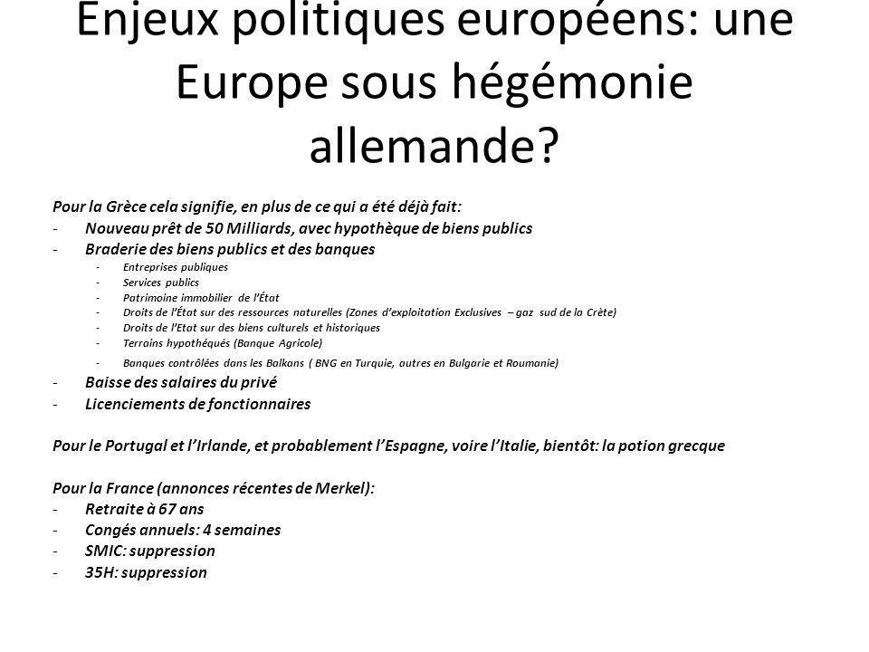 Enjeux politiques européens: une Europe sous hégémonie allemande.