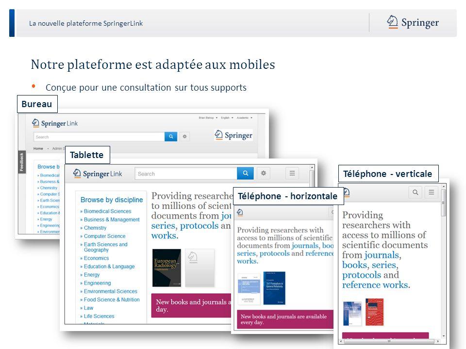 La nouvelle plateforme SpringerLink Page daccueil La page daccueil est divisée en trois parties: Masque de recherche Navigation Contenu Recherche Navigation Contenu
