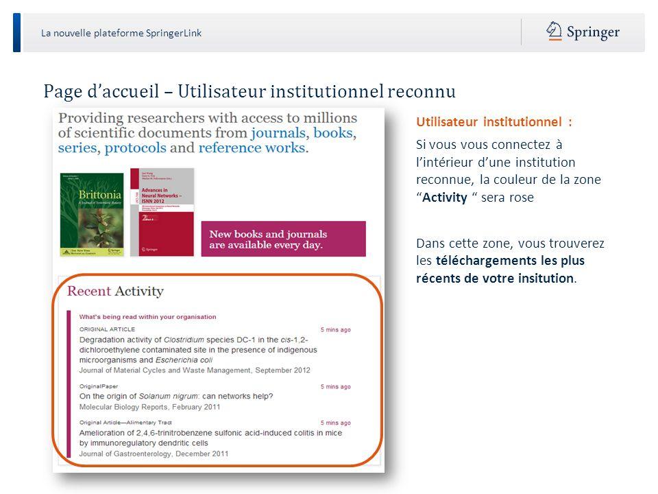 La nouvelle plateforme SpringerLink Recherche Recherche : 1.