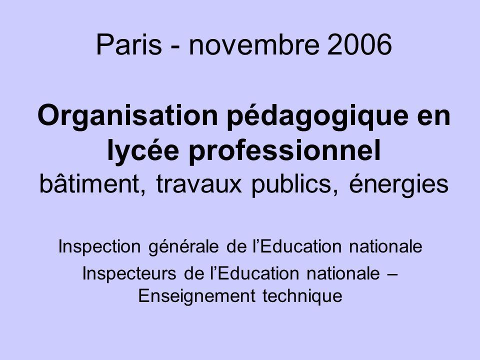 Paris - novembre 2006 Organisation pédagogique en lycée professionnel bâtiment, travaux publics, énergies Inspection générale de lEducation nationale Inspecteurs de lEducation nationale – Enseignement technique