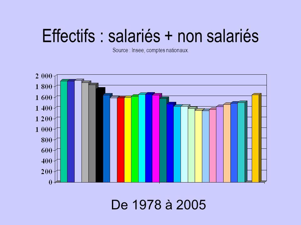 Effectifs : salariés + non salariés Source : Insee, comptes nationaux. De 1978 à 2005