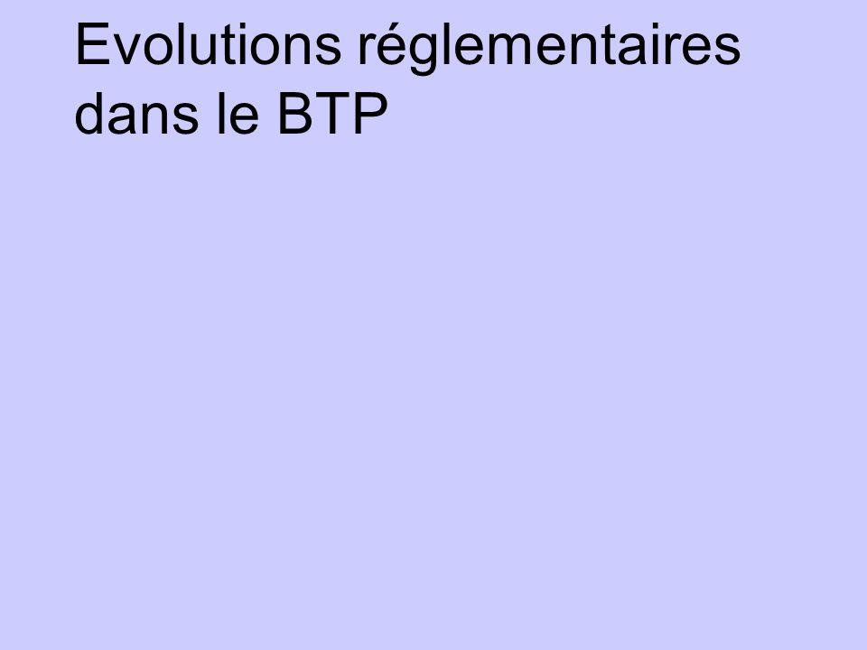 Evolutions réglementaires dans le BTP