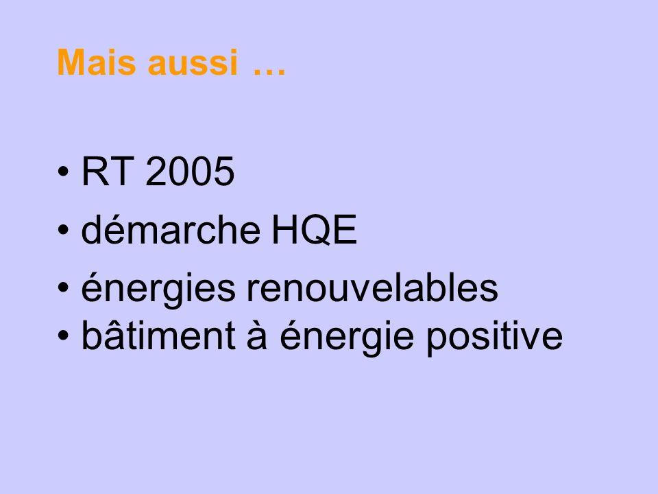 Mais aussi … RT 2005 démarche HQE énergies renouvelables bâtiment à énergie positive