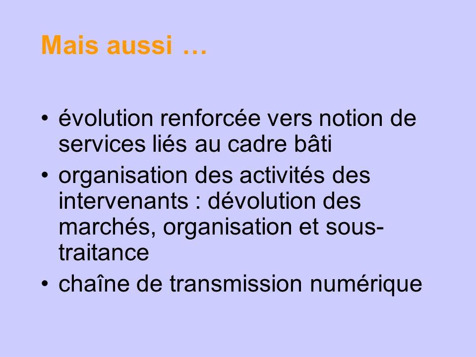 Mais aussi … évolution renforcée vers notion de services liés au cadre bâti organisation des activités des intervenants : dévolution des marchés, organisation et sous- traitance chaîne de transmission numérique