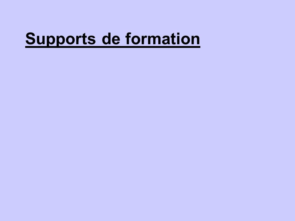 Supports de formation
