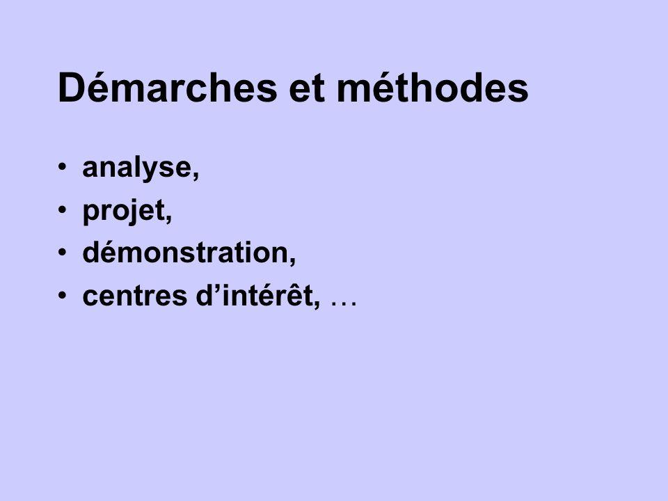 Démarches et méthodes analyse, projet, démonstration, centres dintérêt, …