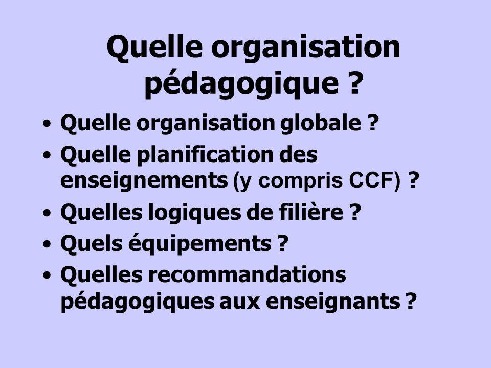 Quelle organisation pédagogique ? Quelle organisation globale ? Quelle planification des enseignements (y compris CCF) ? Quelles logiques de filière ?