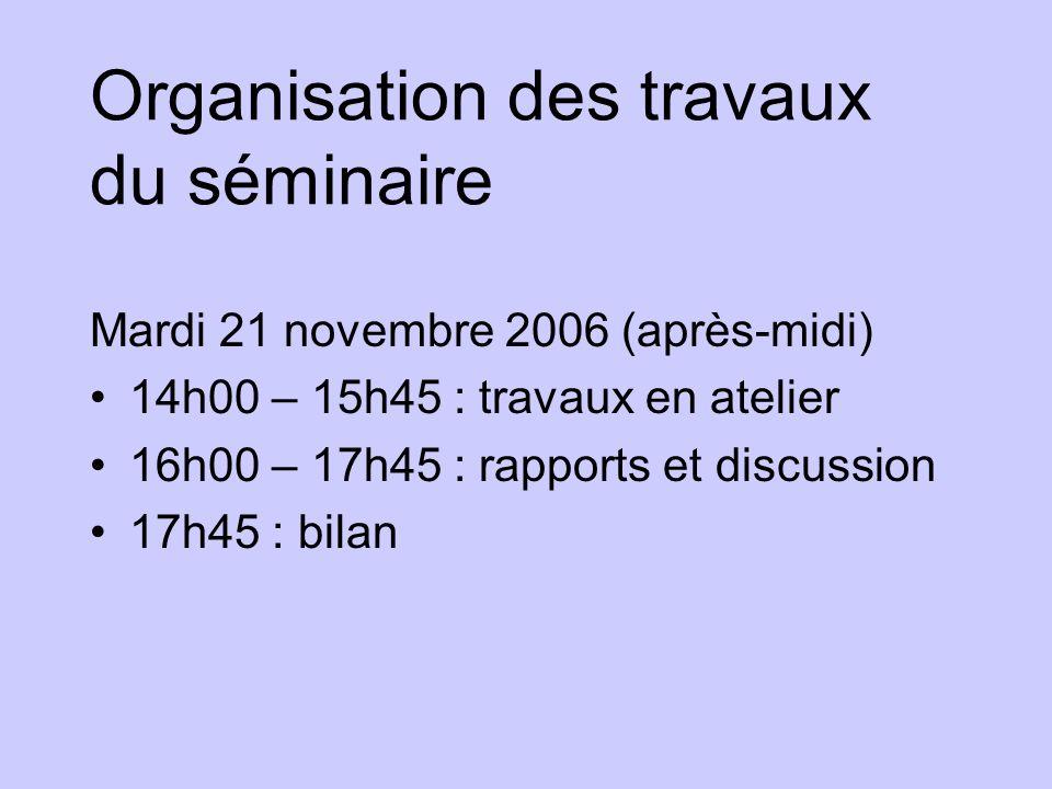 Organisation des travaux du séminaire Mardi 21 novembre 2006 (après-midi) 14h00 – 15h45 : travaux en atelier 16h00 – 17h45 : rapports et discussion 17h45 : bilan