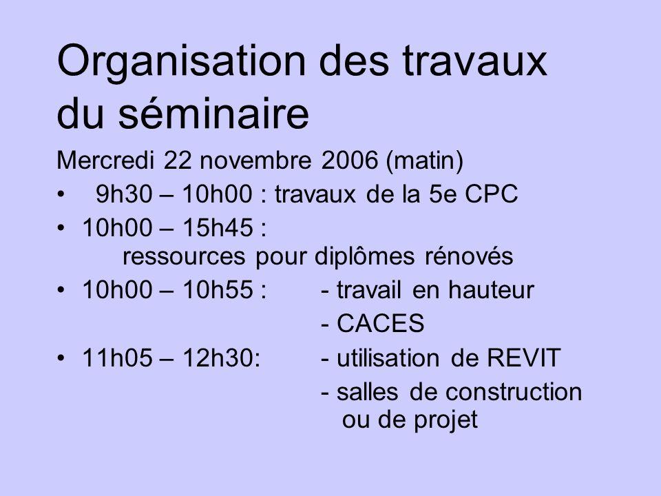 Organisation des travaux du séminaire Mercredi 22 novembre 2006 (matin) 9h30 – 10h00 : travaux de la 5e CPC 10h00 – 15h45 : ressources pour diplômes r