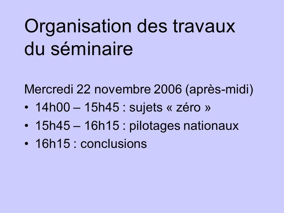 Organisation des travaux du séminaire Mercredi 22 novembre 2006 (après-midi) 14h00 – 15h45 : sujets « zéro » 15h45 – 16h15 : pilotages nationaux 16h15 : conclusions