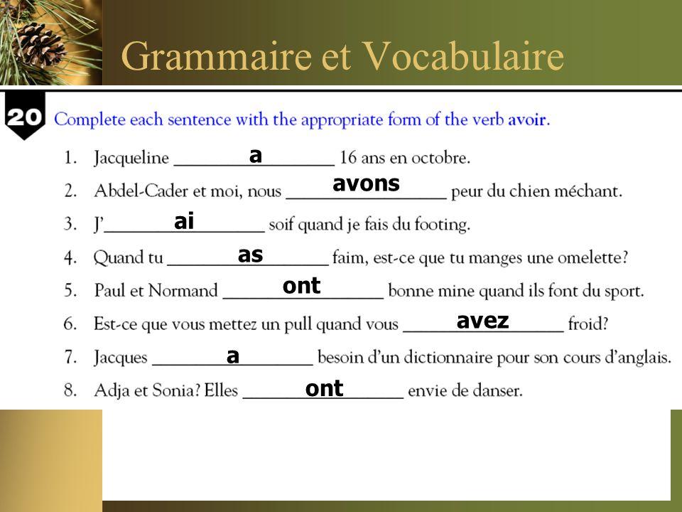 Grammaire et Vocabulaire a avons ai as ont avez a ont