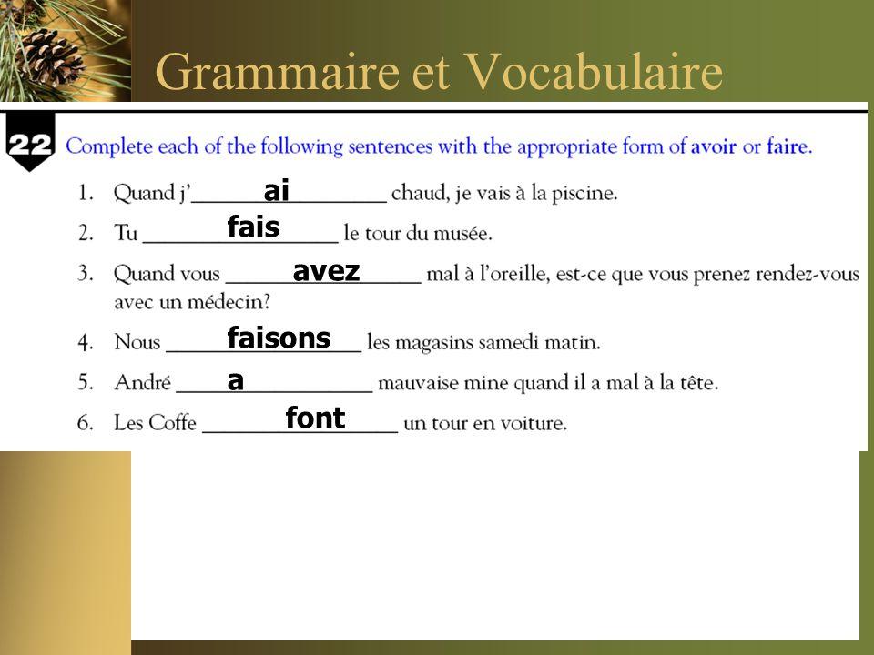 Grammaire et Vocabulaire ai fais avez faisons a font