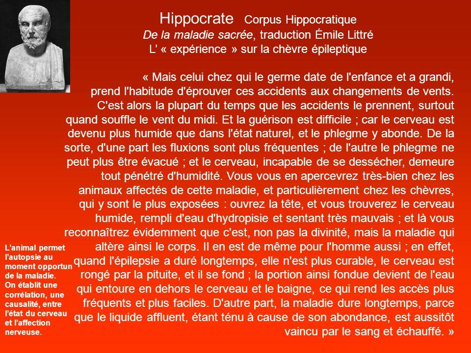 Hippocrate Corpus Hippocratique De la maladie sacrée, traduction Émile Littré L « expérience » sur la chèvre épileptique « Mais celui chez qui le germ