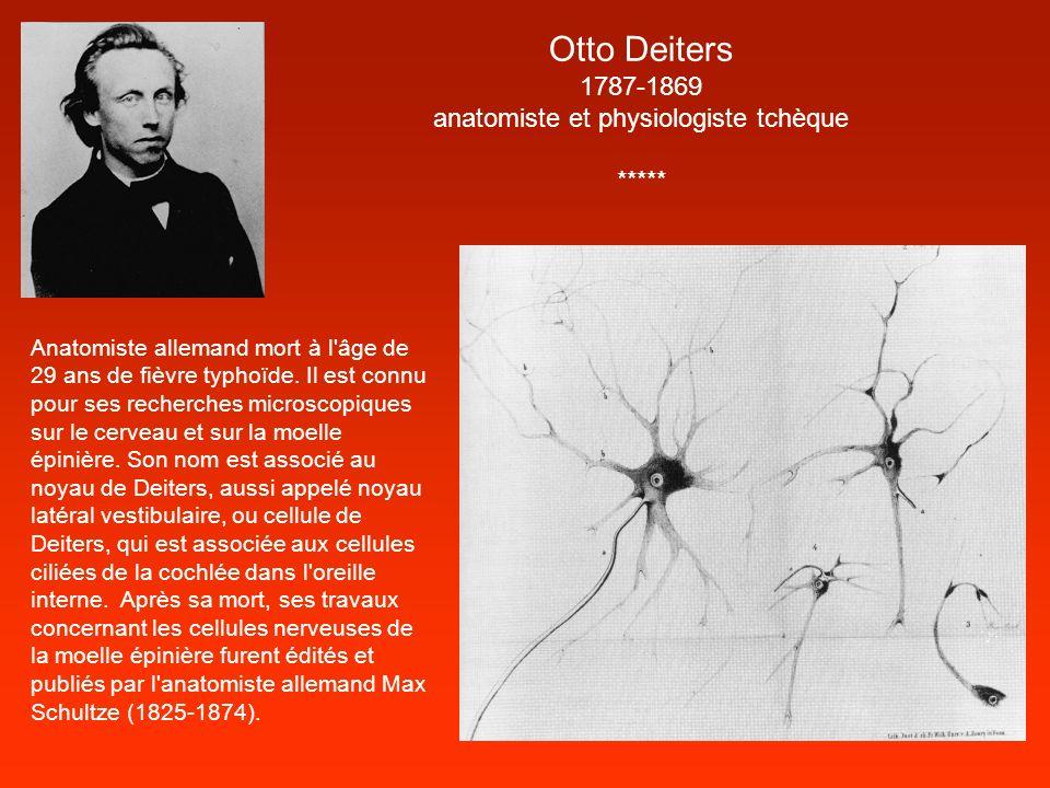Otto Deiters 1787-1869 anatomiste et physiologiste tchèque ***** Anatomiste allemand mort à l'âge de 29 ans de fièvre typhoïde. Il est connu pour ses