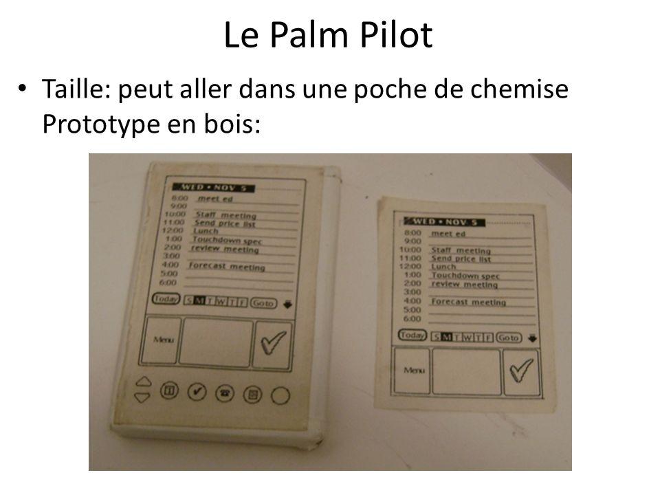 Le Palm Pilot Taille: peut aller dans une poche de chemise Prototype en bois: