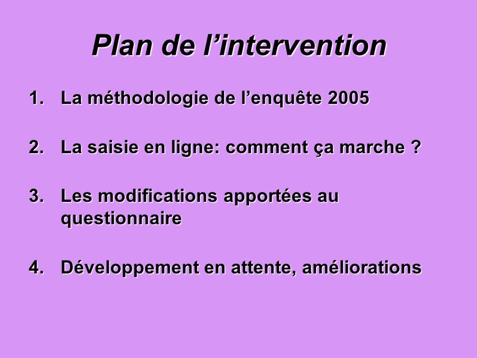 1.La méthodologie de lenquête 2005 2.La saisie en ligne: comment ça marche ? 3.Les modifications apportées au questionnaire 4.Développement en attente