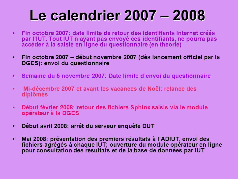 Le calendrier 2007 – 2008 Fin octobre 2007: date limite de retour des identifiants Internet créés par lIUT. Tout IUT nayant pas envoyé ces identifiant