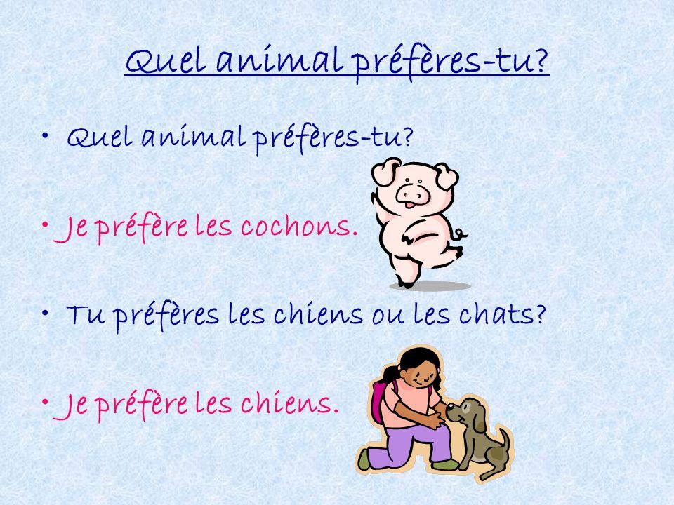 Quel animal préfères-tu? Je préfère les cochons. Tu préfères les chiens ou les chats? Je préfère les chiens.