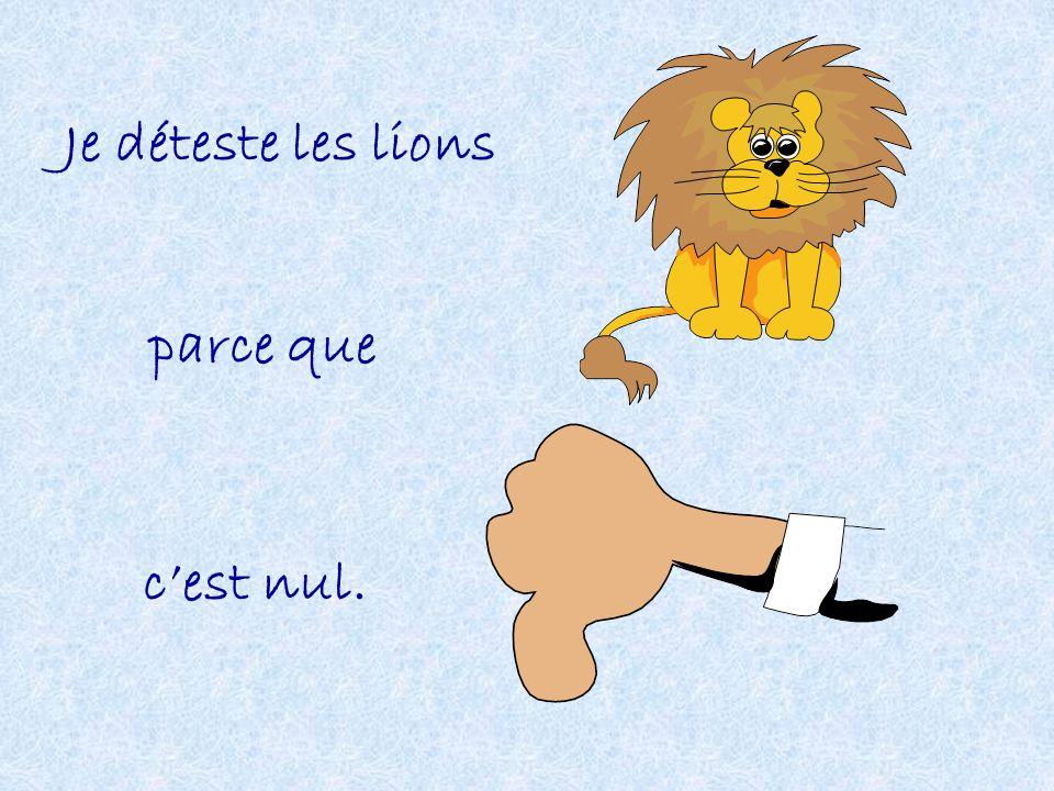 Je déteste les lions parce que cest nul.
