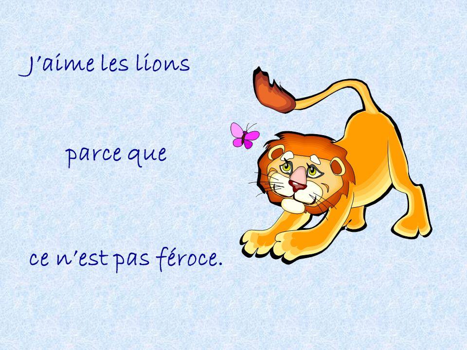 Jaime les lions parce que ce nest pas féroce.