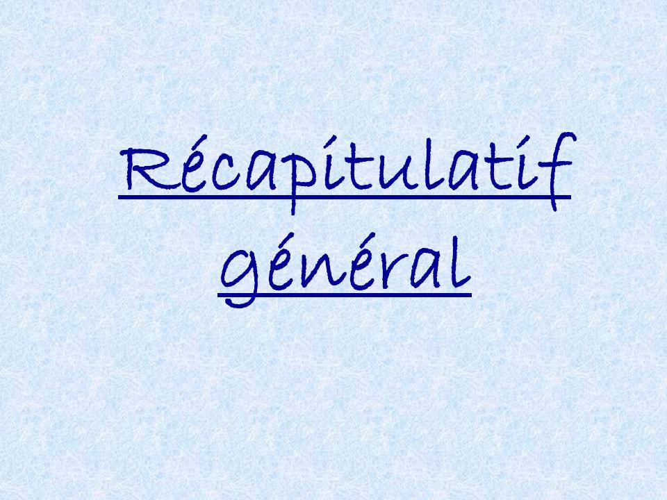 Récapitulatif général