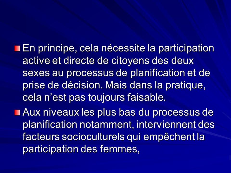 En principe, cela nécessite la participation active et directe de citoyens des deux sexes au processus de planification et de prise de décision. Mais