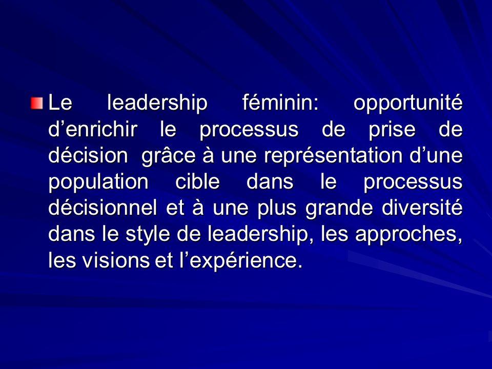 Le leadership féminin: opportunité denrichir le processus de prise de décision grâce à une représentation dune population cible dans le processus déci