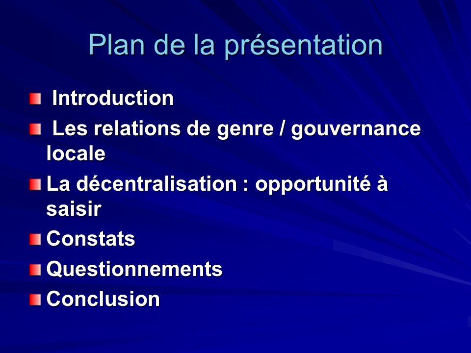 Introduction Introduction Les relations de genre / gouvernance locale Les relations de genre / gouvernance locale La décentralisation : opportunité à