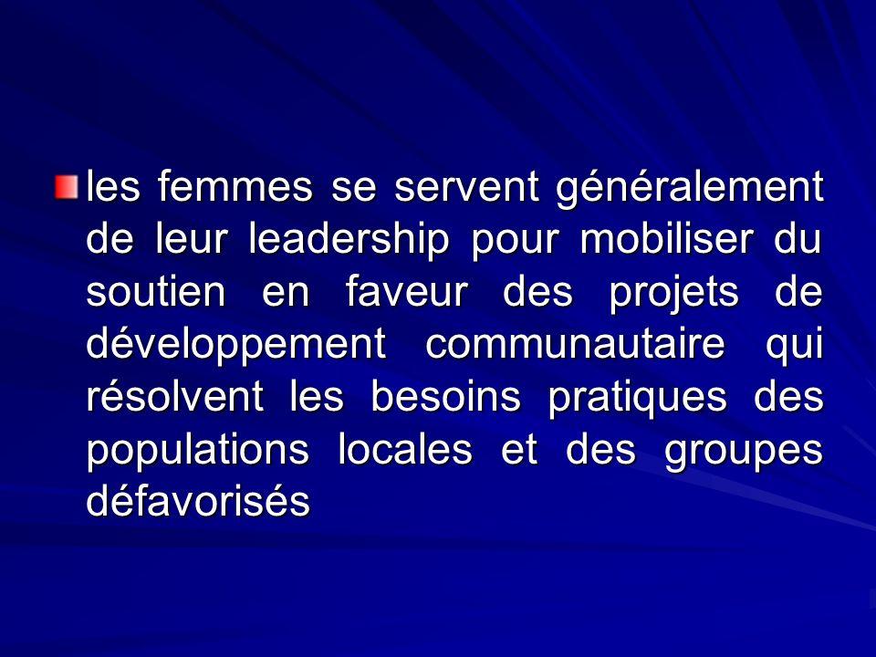 les femmes se servent généralement de leur leadership pour mobiliser du soutien en faveur des projets de développement communautaire qui résolvent les