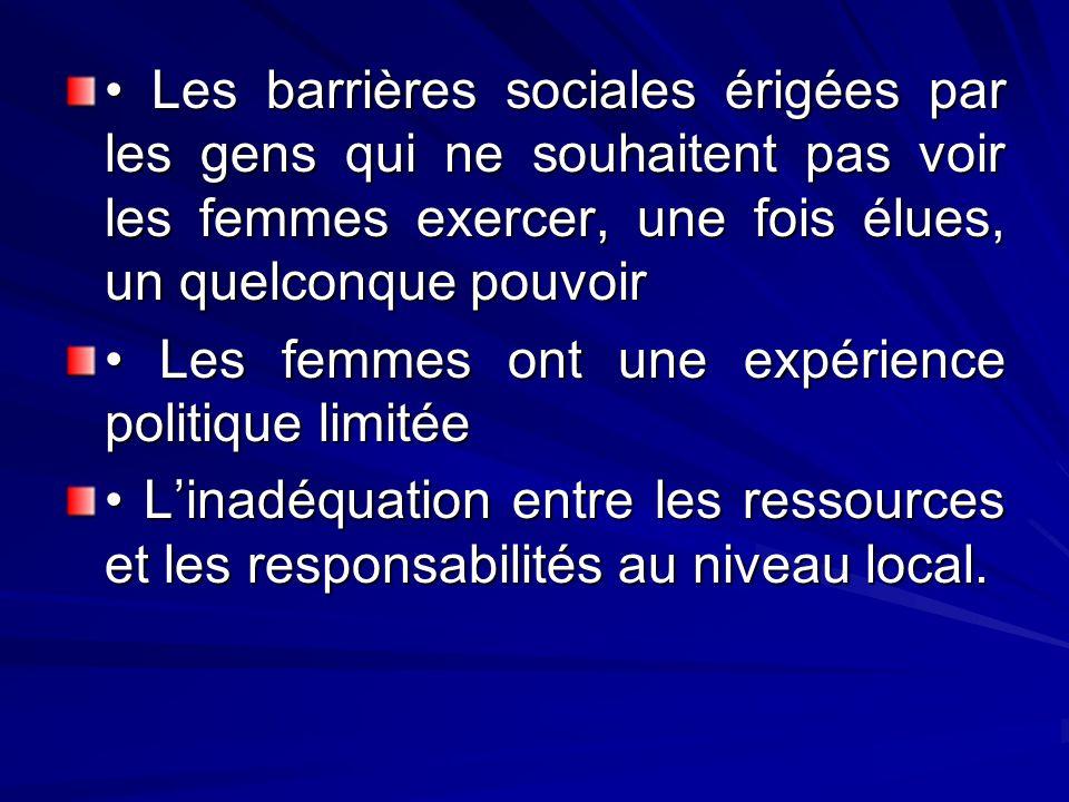 Les barrières sociales érigées par les gens qui ne souhaitent pas voir les femmes exercer, une fois élues, un quelconque pouvoir Les barrières sociale