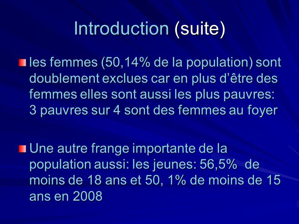 Introduction (suite) les femmes (50,14% de la population) sont doublement exclues car en plus dêtre des femmes elles sont aussi les plus pauvres: 3 pa