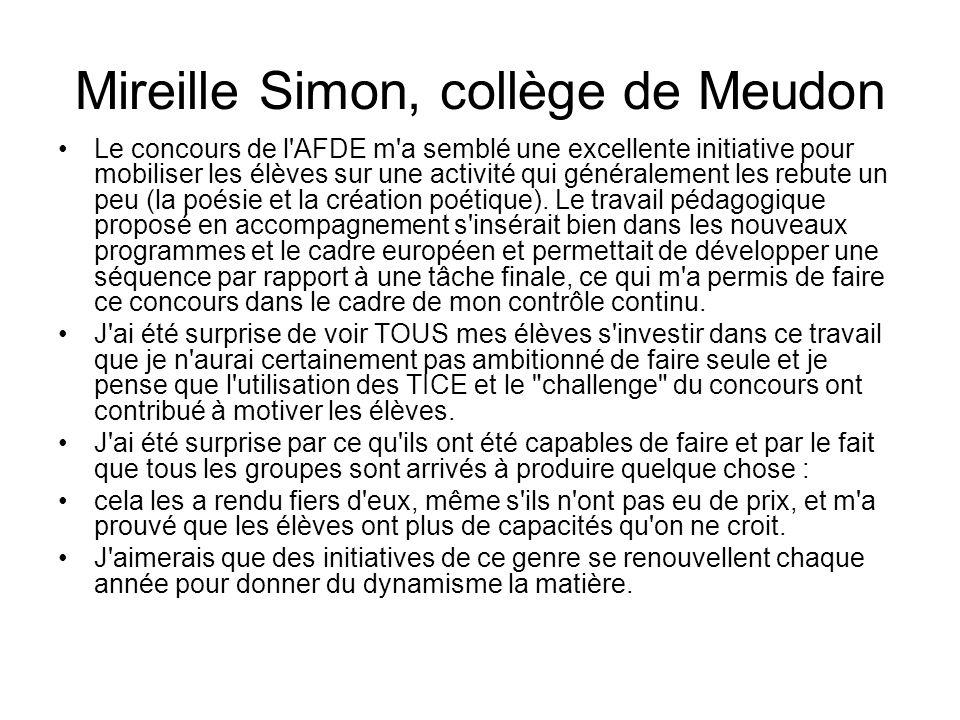 Mireille Simon, collège de Meudon Le concours de l'AFDE m'a semblé une excellente initiative pour mobiliser les élèves sur une activité qui généraleme