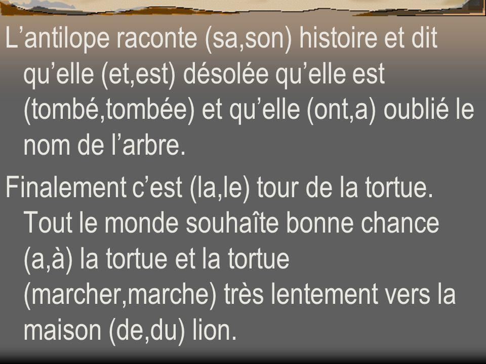 Lantilope raconte (sa,son) histoire et dit quelle (et,est) désolée quelle est (tombé,tombée) et quelle (ont,a) oublié le nom de larbre. Finalement ces