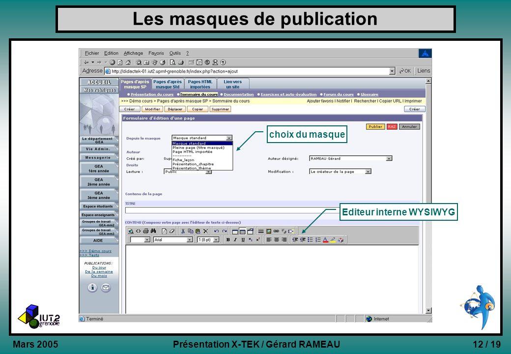 12 / 19Présentation X-TEK / Gérard RAMEAU Mars 2005 Les masques de publication choix du masque Editeur interne WYSIWYG