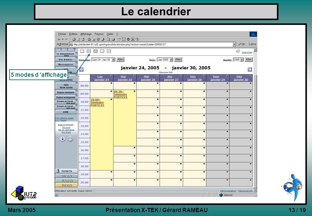 13 / 19Présentation X-TEK / Gérard RAMEAU Mars 2005 Le calendrier 5 modes d affichage