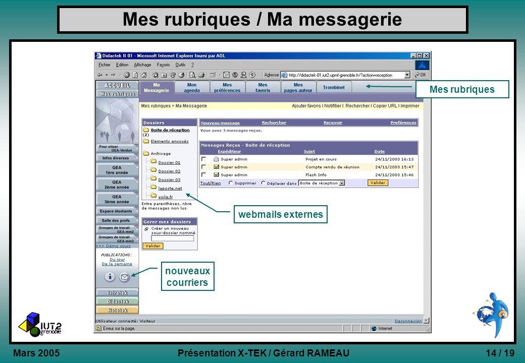 14 / 19Présentation X-TEK / Gérard RAMEAU Mars 2005 Mes rubriques / Ma messagerie Mes rubriques webmails externes nouveaux courriers
