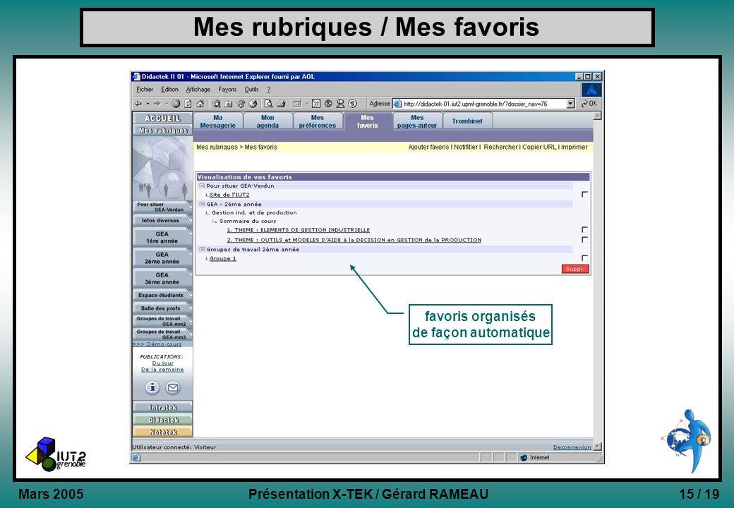 15 / 19Présentation X-TEK / Gérard RAMEAU Mars 2005 Mes rubriques / Mes favoris favoris organisés de façon automatique