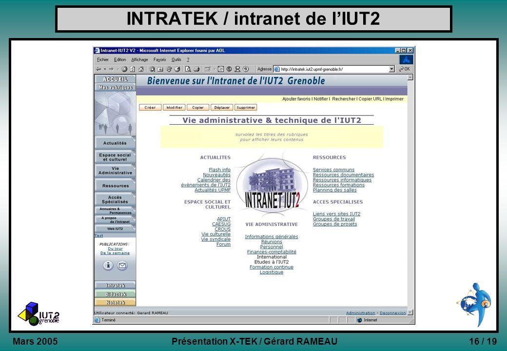 16 / 19Présentation X-TEK / Gérard RAMEAU Mars 2005 INTRATEK / intranet de lIUT2