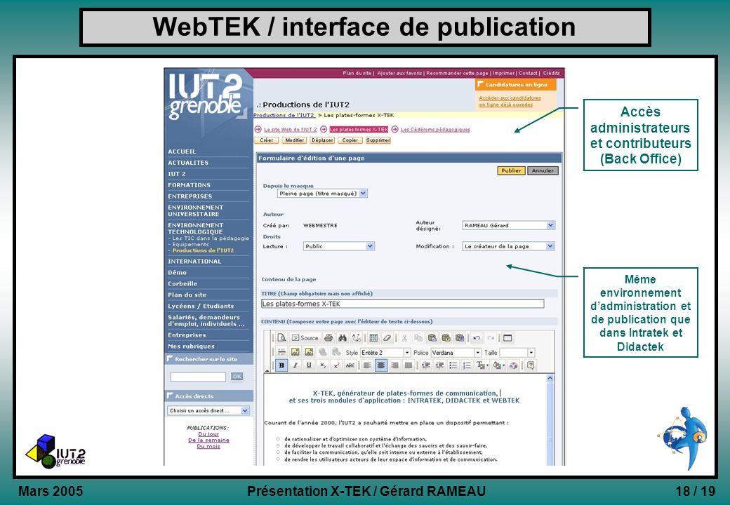 18 / 19Présentation X-TEK / Gérard RAMEAU Mars 2005 WebTEK / interface de publication Accès administrateurs et contributeurs (Back Office) Même enviro